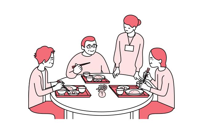 食事中のイラスト