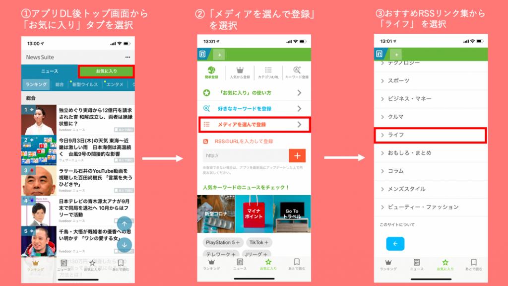 NewsSuiteのアプリ画面